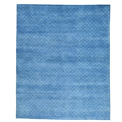 Tone on Tone Oriental Hand-Knotted Silk Blue Area Rug