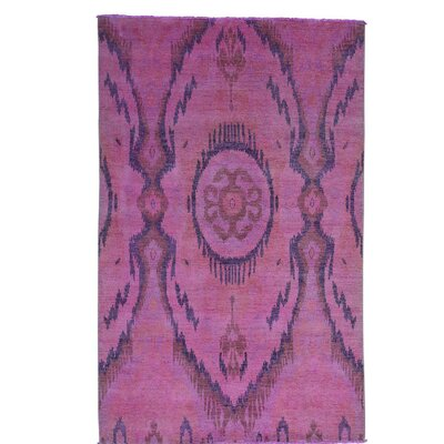 Overdyed Ikat Oriental Hand-Knotted Pink Area Rug