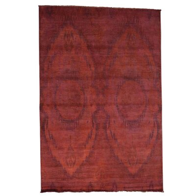 Overdyed Ikat Oriental Hand-Knotted Red Area Rug