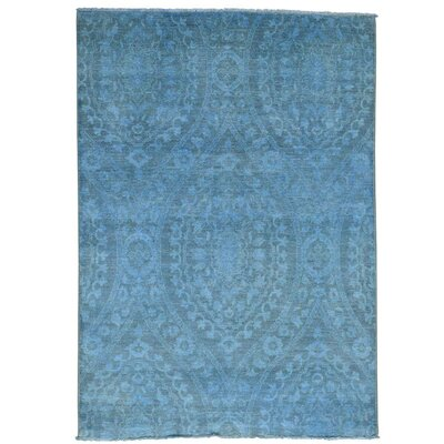 Moughal Overdyed Ikat Oriental Hand-Knotted Blue Area Rug
