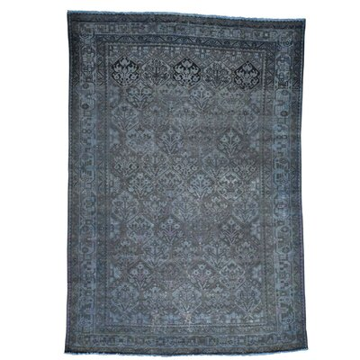Bakhtiari Overdyed Worn Oriental Hand-Knotted Blue Area Rug