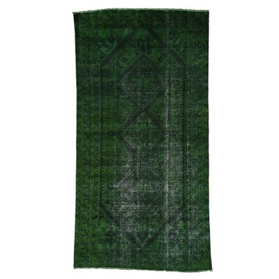 One-of-a-Kind Greenawalt Worn Overdyed Shiraz Hand-Knotted Green Area Rug