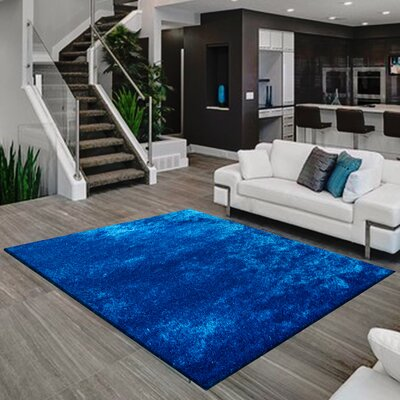 Pattison Hand-Tufted Electric Blue Area Rug Rug Size: Rectangle 5 x 7
