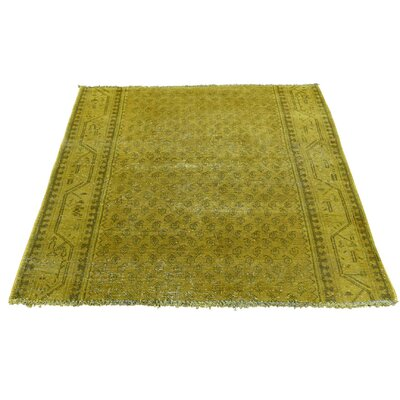 One-of-a-Kind Greenawalt Sarouk Mir Vintage Fragment Overdyed Hand-Knotted Yellow Area Rug