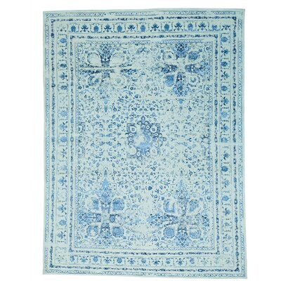 One-of-a-Kind Sinead Modern Broken Hand-Knotted Silk Area Rug