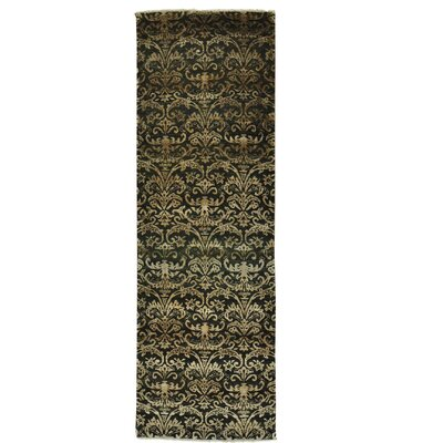 Damask Tone on Tone Oriental Hand-Knotted Silk Black Area Rug