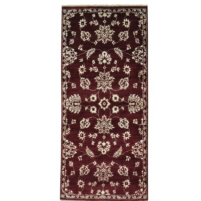 One-of-a-Kind Chaffins Tone on Tone Agra Burgundy Hand-Knotted Area Rug
