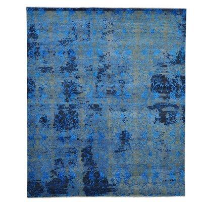 Broken Oriental Hand-Knotted Silk Blue Area Rug