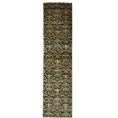 Tone on Tone Damask Oriental Hand-Knotted Silk Brown Area Rug