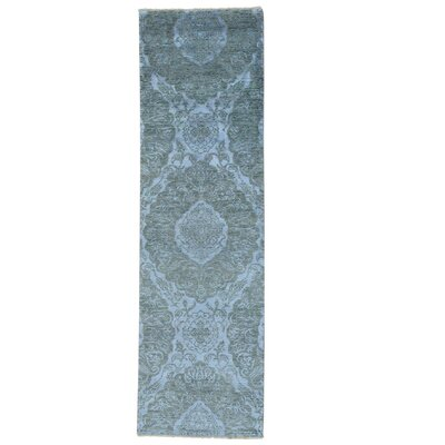 Tone on Tone Damask Oriental Hand-Knotted Silk Gray Area Rug