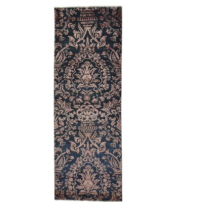 Damask Tone on Tone Hand-Knotted Silk Blue Area Rug
