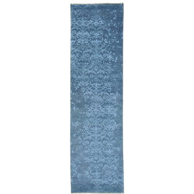 Tone on Tone Damask Oriental Hand-Knotted Silk Blue Area Rug