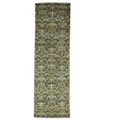 Tone on Tone Damask Oriental Hand-Knotted Silk Green Area Rug