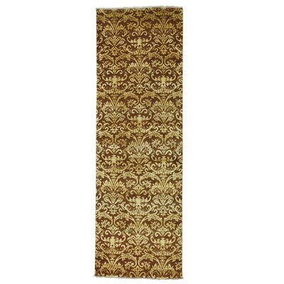 Damask Tone on Tone Oriental Hand-Knotted Silk Brown Area Rug