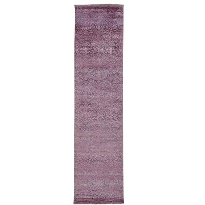 Damask Tone on Tone Hand-Knotted Silk Pink Area Rug
