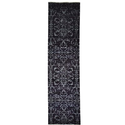Damask Tone on Tone Hand-Knotted Silk Purple Area Rug