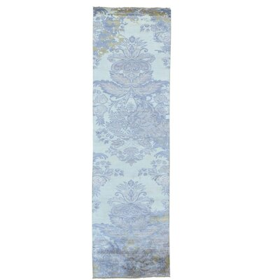 Damask Tone on Tone Hand-Knotted Silk Ivory Area Rug