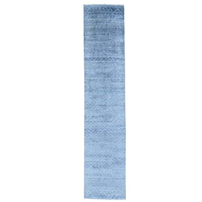 Tone on Tone Geometric Hank Knotted Hand-Knotted Silk Blue Area Rug
