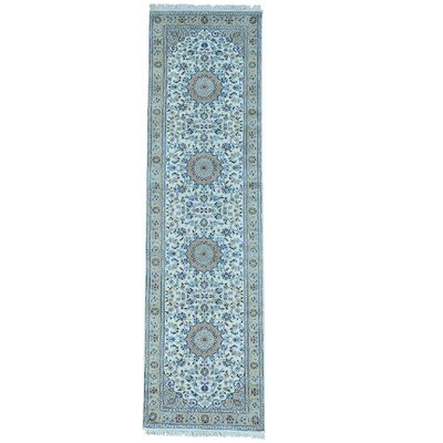 Nain 250 KPSI Oriental Hand-Knotted Silk Ivory Area Rug