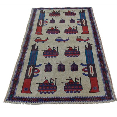 Afghan Baluch War Tanks Grenades Hand-Knotted Beige Area Rug