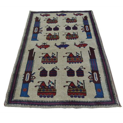 Afghan Baluch War Tanks Grenades Guns Hand-Knotted Beige Area Rug