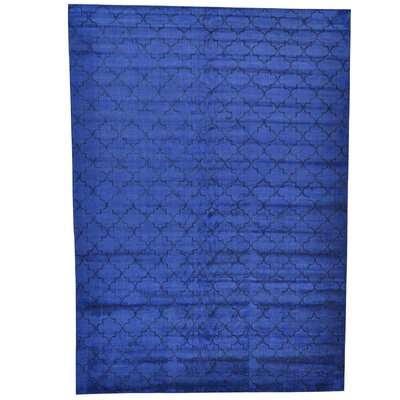 Overdyed Oriental Hand-Knotted Silk Blue Area Rug