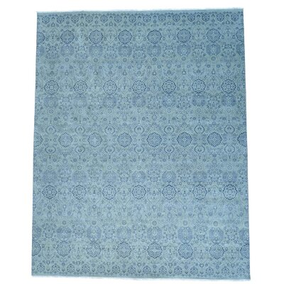 Geometric Hand-Knotted Blue Area Rug