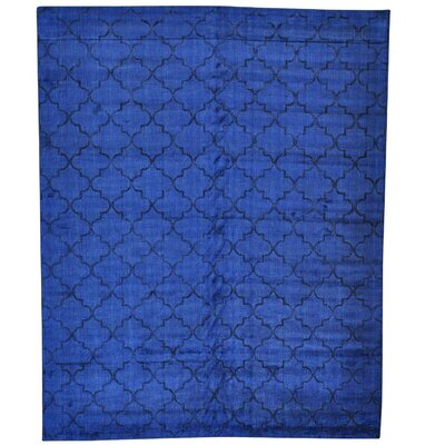 Overdyed Loomed Oriental and Hand-Knotted Silk Blue Area Rug