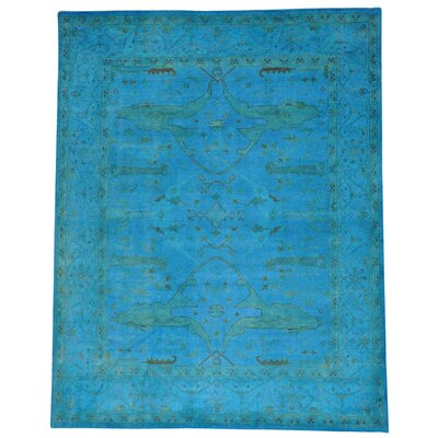 One-of-a-Kind Estella Overdyed Oriental Hand-Knotted Blue Area Rug