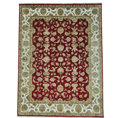 Rajasthan Oriental Hand-Knotted Silk Red Area Rug