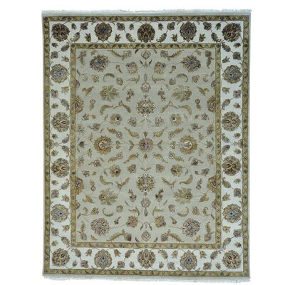 Rajasthan Oriental Hand-Knotted Silk Gray Area Rug