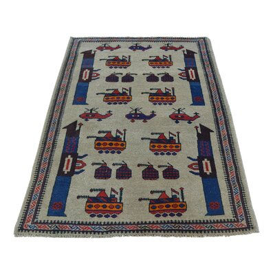 Afghan Baluch War Tanks Grenades Guns Hand-Knotted Wool Beige Area Rug