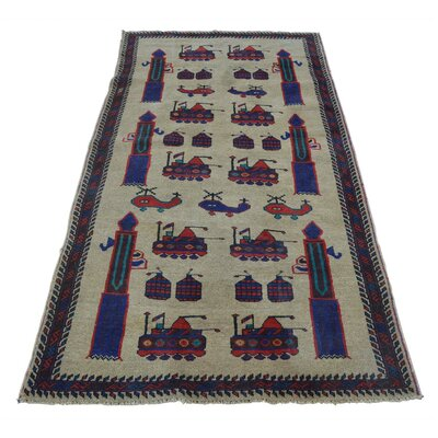 Afghan Baluch War Tanks Grenades Guns Oriental Hand-Knotted Wool Beige Area Rug