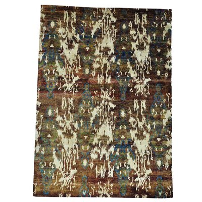 Uzbek Hand-Knotted Silk Brown/Cream Area Rug