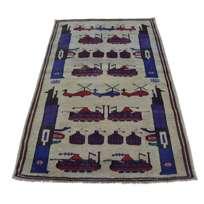 Afghan Baluch War Tanks Grenades Hand-Knotted Wool Beige Area Rug