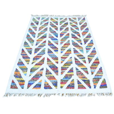 Flat Weave Kilim Hand-Knotted White/Blue Area Rug