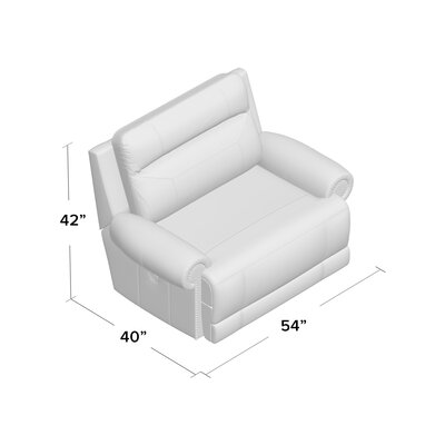 Culver Power Recliner Reclining Type: Power, Upholstery: Gray