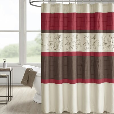 Hannan Embroidered Shower Curtain Color: Red
