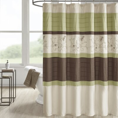 Hannan Embroidered Shower Curtain Color: Sage
