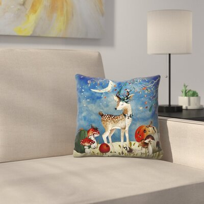 Sleepy Deer in Autumnal Forest Throw Pillow Size: 16 x 16