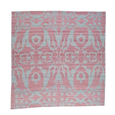 Reversible Kilim Flat Weave Hand-Knotted Pink Area Rug