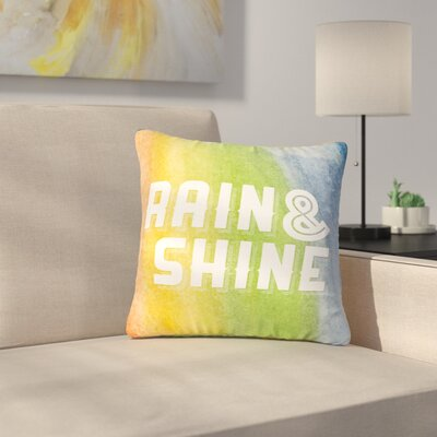 Rain and Shine Rainbow Abstract Outdoor Throw Pillow Size: 16 H x 16 W x 5 D