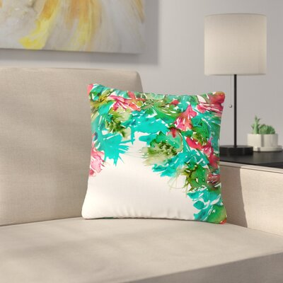 Ebi Emporium Floral Cascade Outdoor Throw Pillow Size: 16 H x 16 W x 5 D, Color: Red