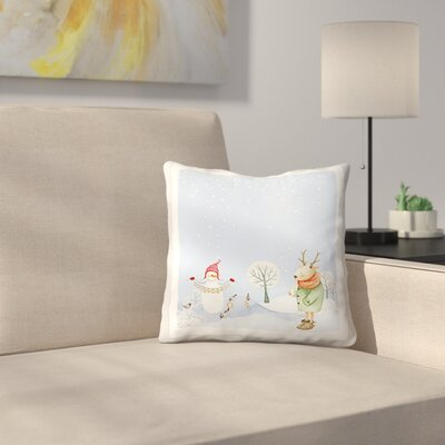 Merry Christmas Snowman Deer and Birds Are Having Winter Fun Throw Pillow Size: 18