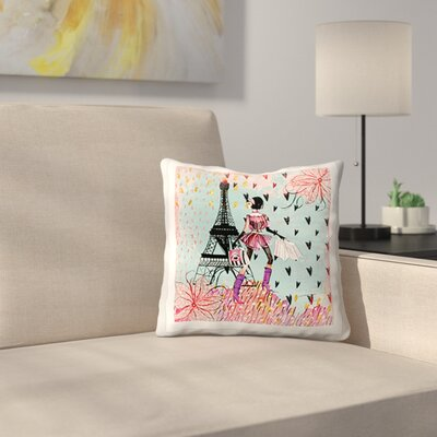 Fashion Girl in Paris Shopping at the Eiffel Tower Throw Pillow Size: 16 x 16