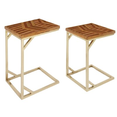 Westall Rustic 2 Piece Nesting Tables Color: Gold