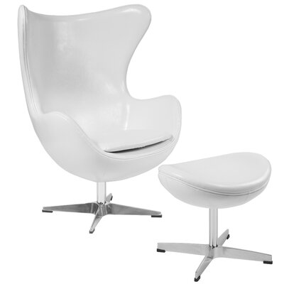 Violeta Swivel Lounge Chair and Ottoman Upholstery: White