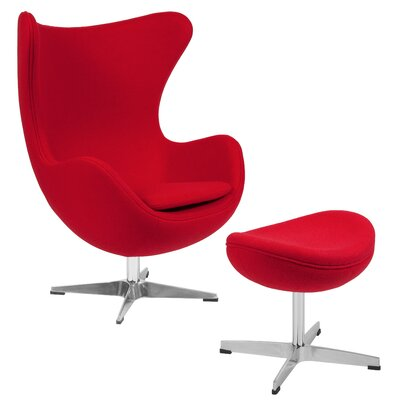 Vinod Swivel Lounge Chair and Ottoman Upholstery: Red