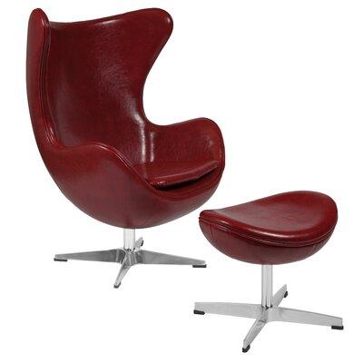 Violeta Swivel Lounge Chair and Ottoman Upholstery: Cordovan