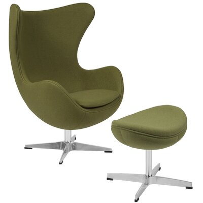 Vinod Swivel Lounge Chair and Ottoman Upholstery: Green